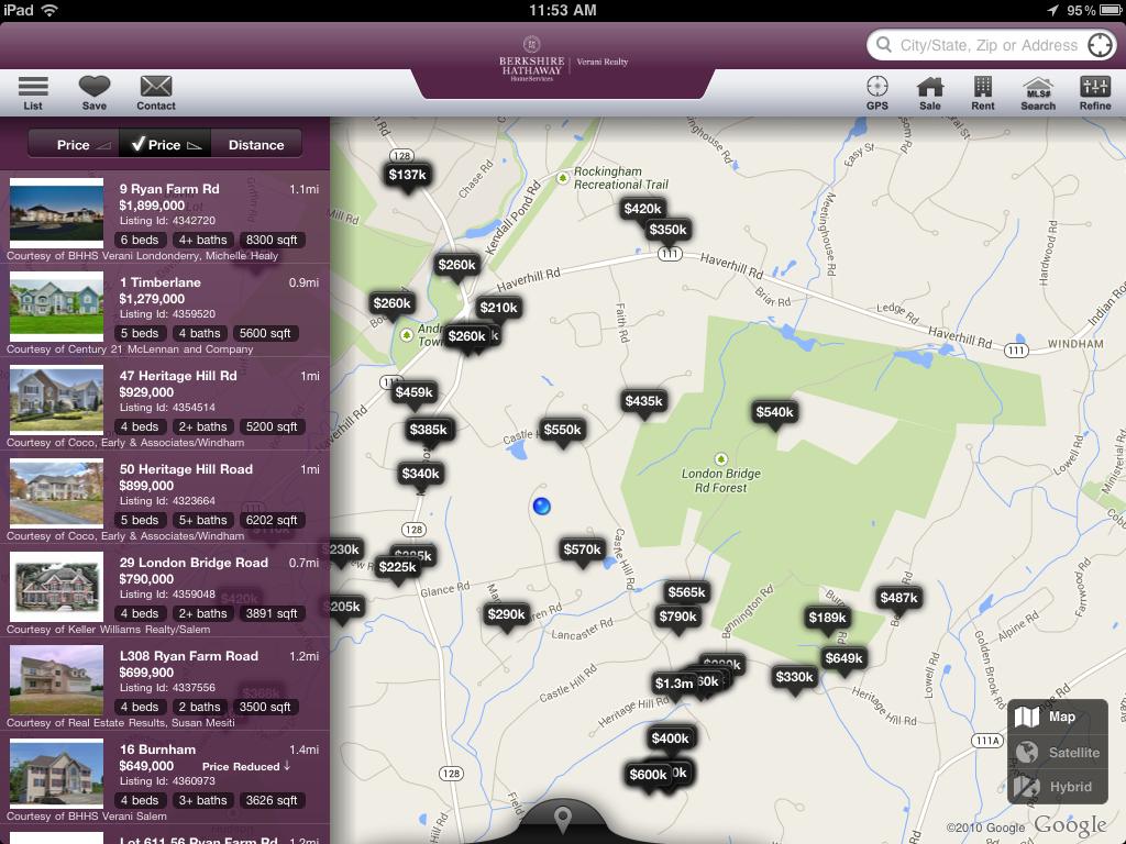 Listings around GPS location