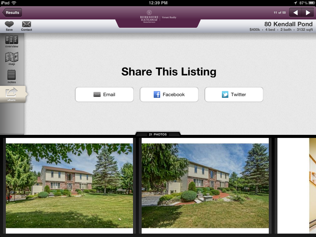 Share listings on Facebook and Twitter